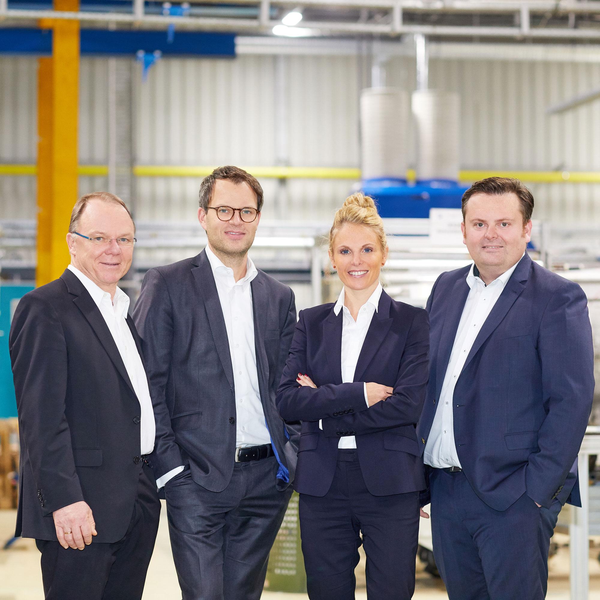 Unsere Geschäftsführung: Jörg Horn, Dominikus Pohl, Julia Pohl und Björn Bauer